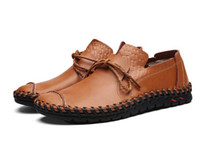 Wholesale Handmade For Spring - 2017 NEW Genuine Leather Men Casual Shoes Fashion Handmade Outdoor Walking Shoes For Men Flat Driving Moccasins chaussures homme AXX390