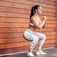 Wholesale Ladies Silver Trouser Pants - Womens Letter Printed Casual Fitness Workout Leggings Elastic Pants For Ladies Plus Size Digital Print Bodycon Skinny Trousers