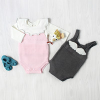 Wholesale babys jumpsuits resale online - 2017 New Baby Girls Knitted Romper Soft Autumn Sleeveless Cotton Knitted Solid Colors Good Quality INS Babys Jumpsuit Colors A004