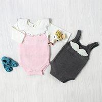 monos babys al por mayor-2017 Nuevos Bebés de Punto Mameluco Suave Otoño Sin Mangas de Algodón de Punto de Colores Sólidos de Buena Calidad INS Babys Jumpsuit 2 Colores A004