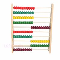Wholesale Counting Abacus - Wholesale- 10 Beads Wooden Abacus Colorful Counting Number Kid Math Learning Teaching Toy