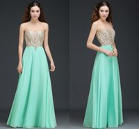 Wholesale lining price for sale - Group buy Price Mint Green A Line Evening Dresses with Appliques Beaded Cheap Sheer Jewel Neck Formal Evening Prom Gowns Under