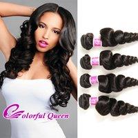 Wholesale human loose curl hair bundles resale online - Colorful Queen Unprocessed Human Hair Bundles g Grade A Brazilian Virgin Hair Loose Wave Bundles Deals Hair Loose Curl Inches