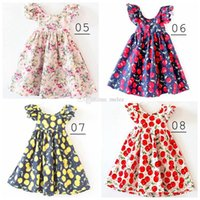 Wholesale Girls Vintage Style Dress - INS Cherry lemon Cotton Backless girls floral beach dress cute baby summer backless halter dress kids vintage flower dress 12colors