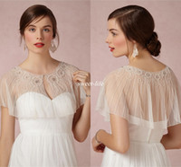 ingrosso giacca a spalla bolero in pizzo bianco-White Short Lace Wraps Beads Beads Bridal Coat Jewel Neck Giacche Mantelle da sposa Involucri Bolero Jacket Wedding Dress Wraps Shrugs Plus Size