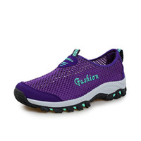 Wholesale Comfortable China Shoes - China women shoes Suppliers Outdoor woMen Summer Sport Mesh Shoes Lace Up Super Cool Sport Water Shoes Walking Comfortable Breathable Men's