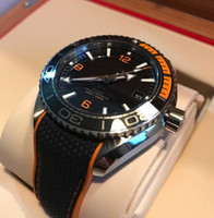 Wholesale Orange Planet Ocean - AAA Top Quality Brand New Planet Ocean Co Axial Black orange Automatic machinery Mens Watch Men's Sport Wrist Watches