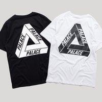 Wholesale Summer Cotton Shirts - Hot Sale PALACE T-Shirt Crew Neck Short Sleeve Mens Summer Cotton Tees White Black Skateboards Sport Shirt Women Triangle Print Tee YBG0301