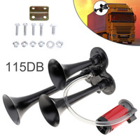 12V 115dB Super Loud Triple Tone Air Horn Set Trumpet Compressor pour moto voiture Boat Truck AUP_437