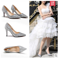 Wholesale Diamond Silver Heels For Wedding - Perfect Bride Slipper Diamond Wedding High-heeled Shoes Color Gold & Silver Bridal Shoes Party Prom Evening for Women
