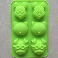 Wholesale Pig Soap Mold - New starting silicone cake mold glasses pig KT cat m mouse head silicone handmade soap mold moon cake mold