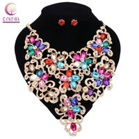 Wholesale Necklaces For Prom Dresses - Luxury Dress Gold Plated Flower Rhinestones Crystal Jewelry Sets For Women Wedding Prom Bridal Earrings Necklace Jewelry Set