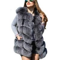 chalecos de invierno para damas al por mayor-Faux Sliver Fox Fur Chaleco de Las Mujeres de Moda de Invierno Medio Largo Artifical Fox Fur Chalecos Mujer Cálido Falso Abrigos de Piel de Fox Femenino damas