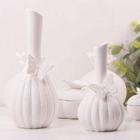 Wholesale Ceramic Vases Wedding - DH white ceramic flower vase home decoration accessories butterfly theme flower vase marriage decorative vase wedding gift