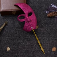 Wholesale Stick Masks For Men - New Venetian Carnival Mask On A Stick Men and Women's Party Masquerade Masks Dress Up Cosplay Free Shipping ZA3840