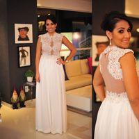 Wholesale Black Transparent Prom - 2017 Ivory Evening Gowns Illusion Lace And Chiffon Transparent Sheer Prom Dresses Long Sexy Designer Vestido Longo Branco