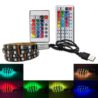 tiras de iluminación led 12v al por mayor-DIY 5050 RGB LED Tira impermeable DC 5V USB LED Tiras de luces Cinta flexible 50cm 1M 2M 3M 4M 5M agregar control remoto para el fondo de TV