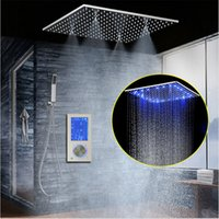 "Wholesale Mixer Led - LED Intelligent Digital Display Rain Shower Set Installed in Wall 20"" SPA Mist Rainfall Thermostatic Touch Panel Mixer"