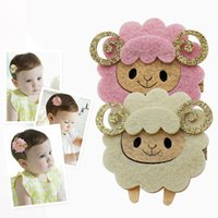Wholesale baby grips - 20pc lot Felt Sheep Hairpin Glitter Horn Novelty Cheap Cartoon Animal Hair Clips Yellow Pink Cute Fashion Trendy Baby Hair Grips