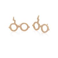 aretes graciosos al por mayor-Comercio al por mayor de Harry Magic Glasses Stud Pendiente de la Joyería de Plata Oro Rosa Color Plateado Oro Para Las Mujeres Regalo EFE036