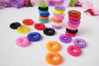 Wholesale Hair Band Silicone - Telephone Cord Elastic Ponytail Holders Hair Ring Scrunchies For Girl Rubber Band Tie Free Shipping via DHL