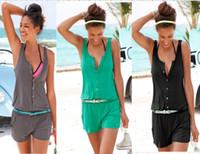 Wholesale Women S Beach Pants Cotton - Sexy Summer Beach Women Romper Jumpsuit Shorts Sleeveless One Piece Short Pants Suit