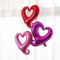 Wholesale Inflatable Balloon Heart Shape - 100cm*108cm Large Hook Heart Shape Foil Balloons Love Inflatable Romantic Balloon Wedding Engagement Party Decoration ZA3617