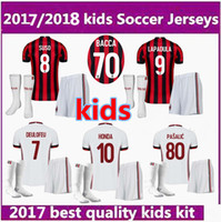 Wholesale Kaka Milan - new 2017 AC MILAN soccer jerseys Kids kit + sock 17 18 youth MENEZ BACCA KAKA home away football uniform jersey shirts