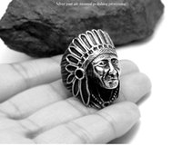 Wholesale Native American Gold - Quality Titanium Steel INDIAN Native American Chief Geronimo Ring Headdress 6-12