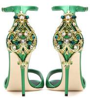 zapatos de boda verde rhinestones al por mayor-Negro verde satinado punta abierta Rhinestone volver zapatos de boda sandalias de las mujeres sapato para noiva zapato hebilla correa mujeres bombea