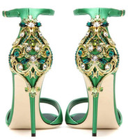 yeşil pompalar ayakkabı kadınlar toptan satış-Siyah Yeşil Saten Burnu açık Rhinestone Geri Düğün Ayakkabı Kadın Sandalet Stilettos sapato para noiva Ayakkabı Toka Askı Kadın Pompaları