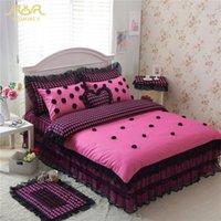Wholesale Black Polka Dot Bedding - ROMORUS 100% Cotton Black Polka Dot Bedding Sets 4 6 pcs for Girls Lace Princess Bed Skirt Full Queen King Size Duvet Cover Set
