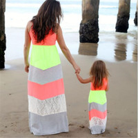 Wholesale Children S Wholesale Lace Dress - Mother And Daughter Matching Dresses Clothes Summer 2017 Fluorescent Color Lace Stitching Parent-child Dress Family Cothes Mommy And Me