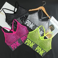 Wholesale Professional Bra - 2017 BRAND NEW Cross Strap Back Women Sports Bra,Professional Quick Dry Padded Shockproof Elastic Running Yoga Tops Vest love pink