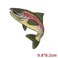 Wholesale Fish Trout - Realistic Rainbow Trout Game Sport Trophy Fish Embroidery Patch