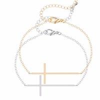Wholesale Ideas For Bracelets - Wholesale-1pcs Sideways Cross Bracelet Simple Jesus Piece Sideways Cross Bracelet For Women Pulseras Friendship Gift Idea