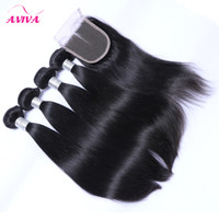 Wholesale Malaysian Hair 5pcs - 5Pcs Lot Grade 8A Unprocessed Virgin Malaysian Straight Hair With Closure Cheap 4 Bundles Malaysian Virgin Hair Straight With Lace Closures