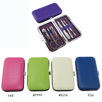 Wholesale Wholesale Grooming Bag - Wholesale- Nice 7pcs Manicure Set Nail Care Clippers Scissors Travel Grooming Kits Case New