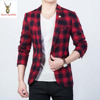 Wholesale Tartan Jacket Men - Wholesale- Black and Red Checked Printed Jacket Blazer Men Slim Fit Plaid Mens Blazers Fashion 2017 New tartan Masculino Plus Size 5XL