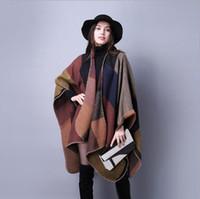 Wholesale Fashion Accessory Ponchos - New Women's Winter Poncho Vintage Blanket Women's Lady Knit Shawl Cape Cashmere Scarf Poncho Fashion accessories