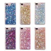 cas de téléphone couverts de diamant achat en gros de-Quicksand Liquid Diamond Etui En Plastique Dur Pour Iphone X XS 8 7 I7 Iphone7 6 Plus 6 S Bling Glitter Feuille D'or Étoile Téléphone Couverture De Peau 100pcs