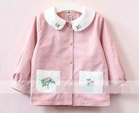 Wholesale Dolls Coats - 2017 Autumn New Girls coat Doll led Flower embroidery Long Sleeve Coat Children Clothing 2-7T 317441