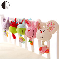 Wholesale Musical Devices - Wholesale- Soft Plush Musical Baby Rattles Easter Stuffed Toy With BB Device Stroller Hanging Bed Dolls Rabbit Educational Toy 0-12 Months