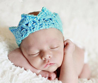 Wholesale Summer Crochet Headbands - Infant Crocheted Hats Toddler Crochet Knit knitted Crochet baby Princess prince Crown Tiara Headband Newborn Photography Prop Baby Cap