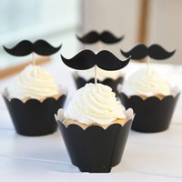 Vente en gros 24pcs Lovely Black Cool Man Moustache Party Paper Cupcake Wrappers Toppers pour les enfants Birthday Party Décoration Cake Cups
