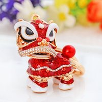 Wholesale Chinese Model Men - 2017 Chinese Style Cute Lion Dance Model Inlay Rhinestone Keychain Lion Key Chains Ornaments Key Holder Car Key Ring Pendant