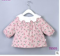 Wholesale Infant Girl White Coat - Toddler kids Winter outwears Baby girls Velvet printed cherry coats infants doll lapel buttons back outwears Baby girls cute clothes C1458