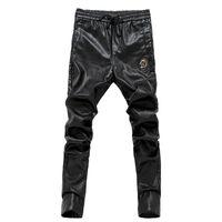 Wholesale Leather Pants 36 Men - Wholesale- 2017 Newest slim fit men leather pants zipper skinny male trousers elastic waist motorcycle pants 28-36 AYG178