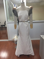 Wholesale Satin Beadwork - Hot Sale Real Photos Mixed Color Beadwork Satin Sheerl Illusion Sleeves Sash Bridal Gown COR-301 Wedding Dresses