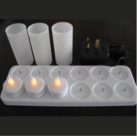 Wholesale 12 Led Rechargeable Candles - Wholesale- Rechargeable LED candle light   12 PCS rechargeable LED tealight candle